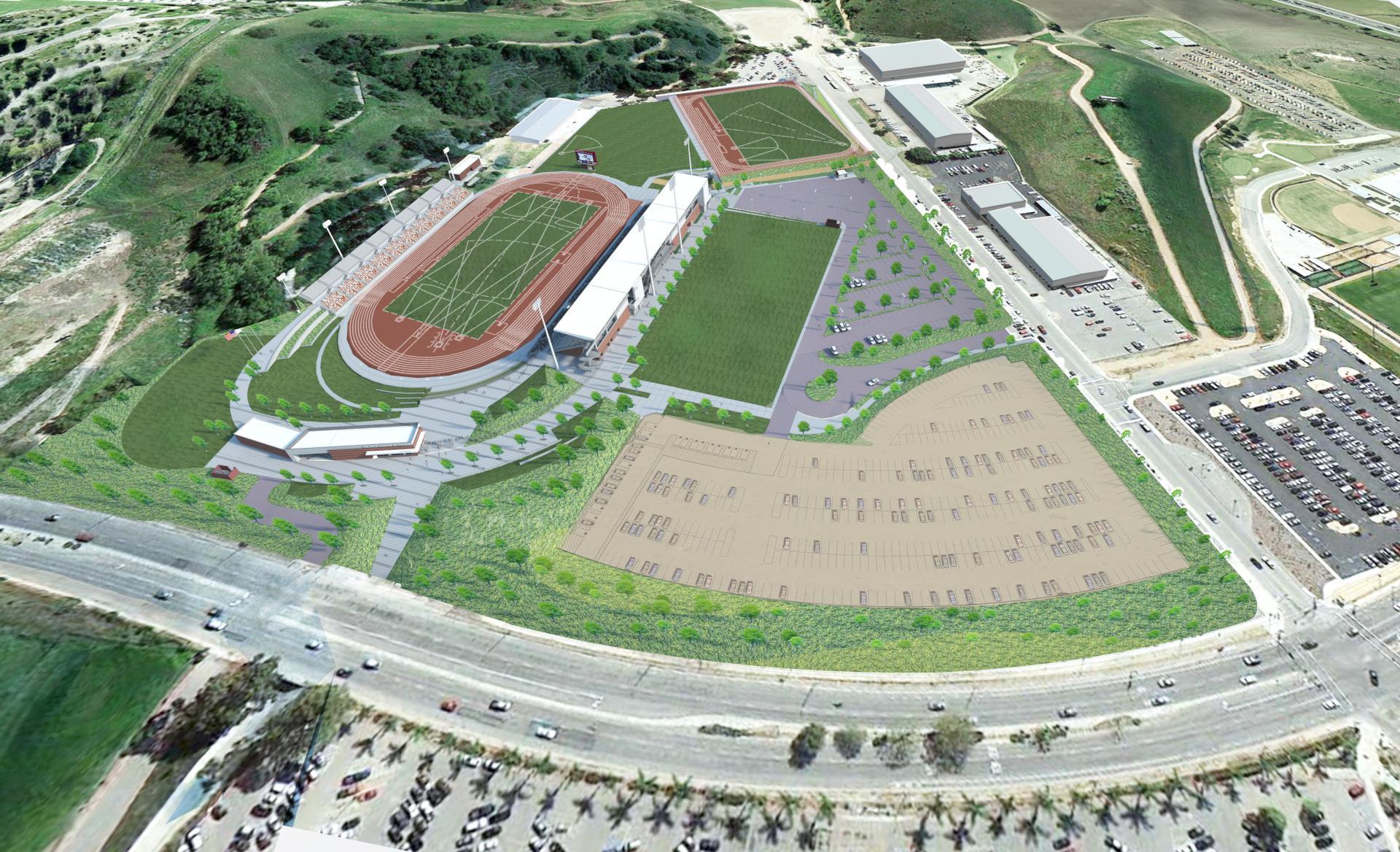 Bird's eye view of Hilmer Lodge Stadium