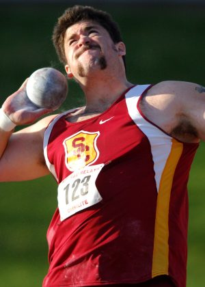 Noah Bryant of Southern California places ninth in the invitational shot